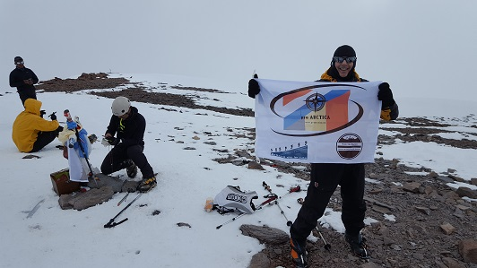 Arnaud on the summit of Aconcagua