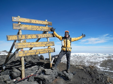 Arnaud on the summit of Kilimanjaro